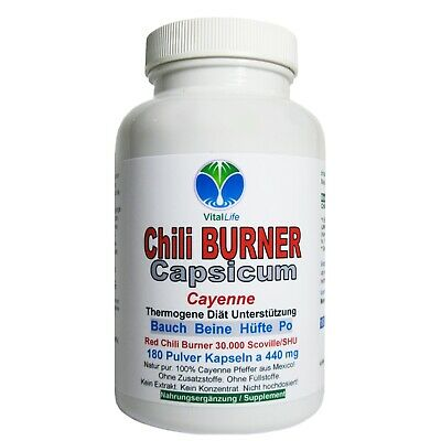 Chili Power Capsicum, 180 Pulver-Kapseln a 400mg, #25597