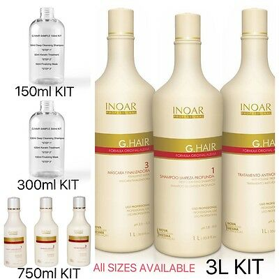 Inoar G-Hair Brazilian Keratin Treatment Blow Dry Hair Straightening Kit Multi
