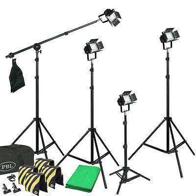 LED Photo Light Kit Free Chromakey Backdrop 4 Lights Boom Sandbags Steve Kaeser