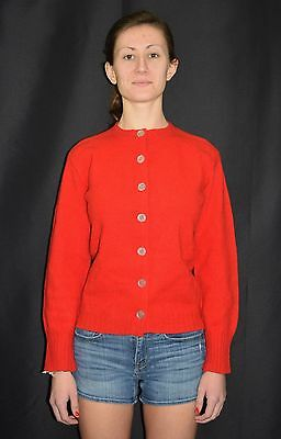Vintage 50's 60's The Lerner Shop Shetly Wool Knit Cardigan Sweater Size Small