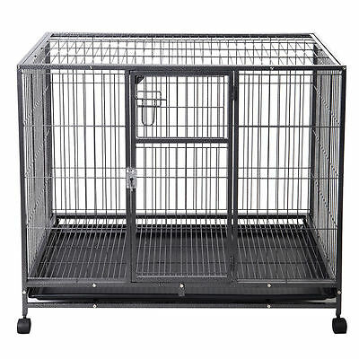 Large Heavy Duty Steel Wire Dog Kennel Crate Pet Cage Wheels Cleanup Tray 2 Door
