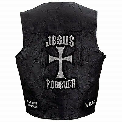 Mens JESUS FOREVER Black Genuine Leather VEST Motorcycle Christian Biker Cross