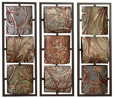 """3 Brown Metal 32"""" Floral Relief Wall Art Sculpture Contemporary Decor"""