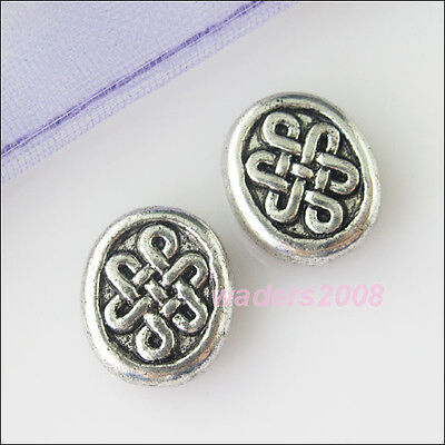 8 New Silver Tone Charms Chinese knot Spacer Beads for DIY Crafts 10x12mm
