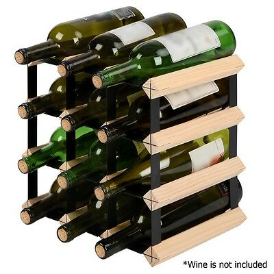 12 Bottle Timber Wine Rack Wooden Storage Cellar Vintry Organiser Stand 2017