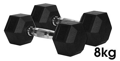 CoreX Fitness Weightlifting 8kg Rubber Hex Dumbbells (Pair)