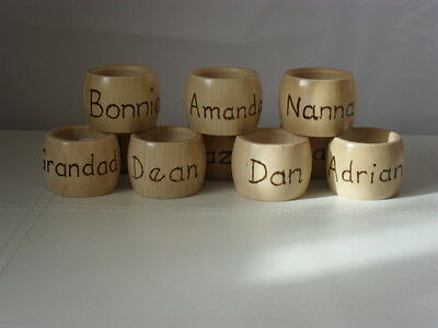 Napkin ring with pyrography. Personalised with name of your choice.BARREL shaped