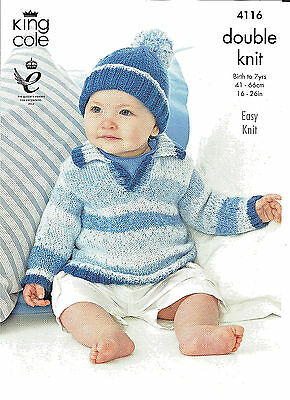 King Cole,splash,easy Knit Baby  7Yr Child Sweater & Hat Double Knitting Pattern
