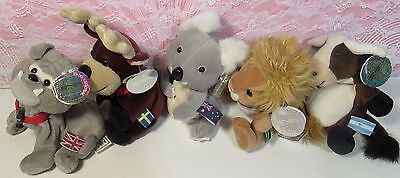 "Coca-Cola International Collection Bean Bag 6"" Plush 1999 Edition Lot of 5 MWMT"
