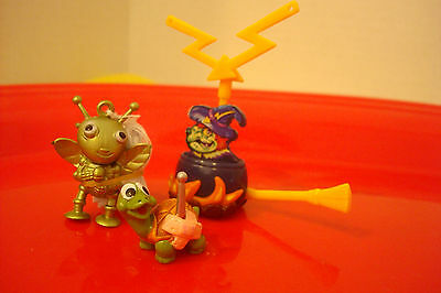 Vintage Ferrero lot of 3 Mini Kinder surprise egg toy figures-  witch / cauldron