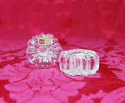 Fabulous! Vintage HADELAND Norway Pair of Crystal Nautilus Candle Holders, Label