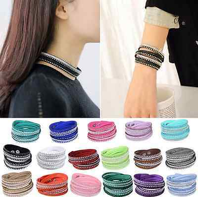Punk Leather Wrap Wristband Cuff Crystal Rhinestone Multilayer Bracelet Bangle