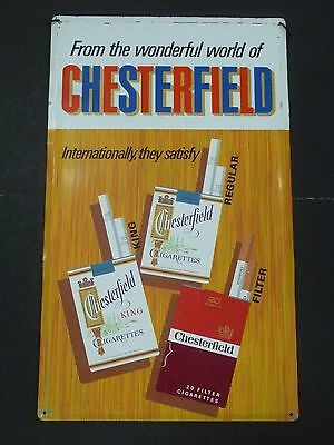 Vintage Original Chesterfield Cigarettes Tin Advertising Sign