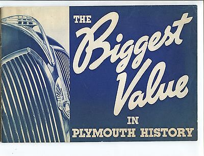 Original 1937 Plymouth  Streamlined Automobile  Advertising Literature Brochure