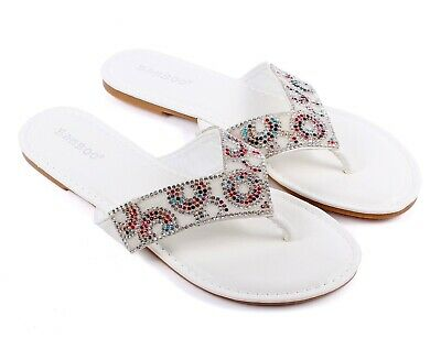 4 Color Bamboo Rhinestone Flip Flops Casual Womens Summer Sandals Dress Shoes