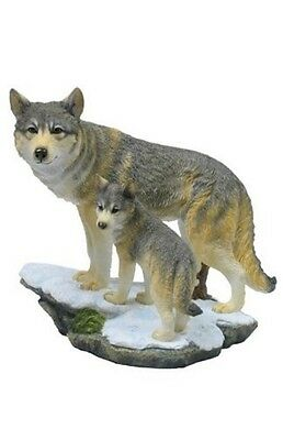 "8"" Wolf & Cub on Cliff Nature Wildlife Animal Statue Collectible Wild Sculpture"