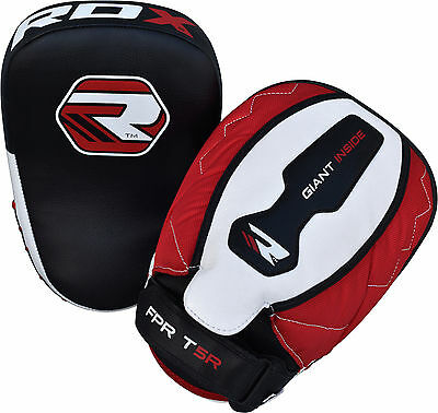 RDX Leather Focus Pads Hook and Jab Boxing Kick Curved MMA Bag Mitts Training CA