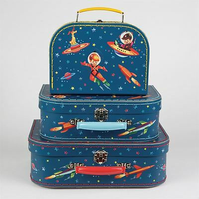 SASS & BELLE SET OF 3 RETRO 1950s STAR SPACE SUITCASES STACKING STORAGE BOX HOME