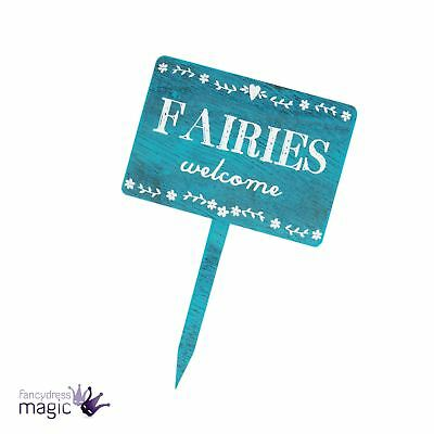 Sass & Belle Fairies Welcome Blue Shabby Chic Secret Fairy Garden Stake Gift