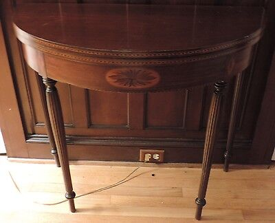 Antique Federal Style Inlaid Demi-Lune Mahogany Console Card Table