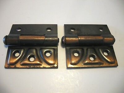 Vtg Copper Flash Steel Half Mortise Butterfly Cabinet Door Hinges Stanley SW