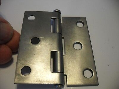 "One Vtg Steel Entry Door Half Mortise Butt Hinge 3"" X 3"" IDEAL removable pin"