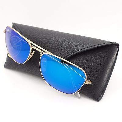 Ray Ban 3136 112/17 55mm Caravan Matte Gold Blue Mirror New Sunglasses Authentic