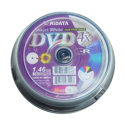 10 Ridata 4X Mini DVD-R White Inkjet Printable Blank Disc Media 8CM 1.46GB 30Min