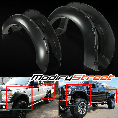 "For 11-15 F250/f350 Super Duty 2"" Matte Black Pocket Style Rivet Fender Flares"