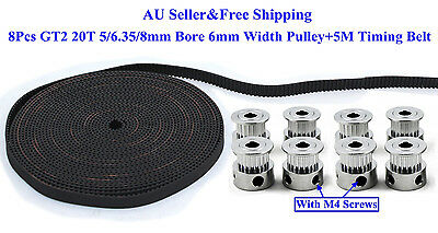 8Pcs GT2 20T 5/6.35/8mm Bore 6mm Width Pulley+5M GT2 Timing Belt For 3D Printer