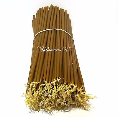 """50 CHURCH BEESWAX CANDLES 11"""" Natural Wax Jerusalem Holy Candle Церковные Свечи"""