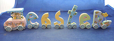 """15"""" Easter Train Wooden By Holiday Workshop 7 Pcs Hand Painted"""