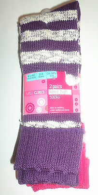 New M&s Girls 2 Pairs Knee High Stripy Socks Age 3-6 Years 8 1/2 - 12 Shoe