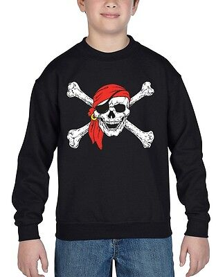 Jolly Roger Skull & Crossbones Youth Crewneck Pirate Flag Sweater
