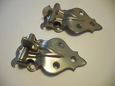"Vintage NOS Nickel Plated Steel Hoosier Cabinet HINGES 5/8"" Offset Victorian"
