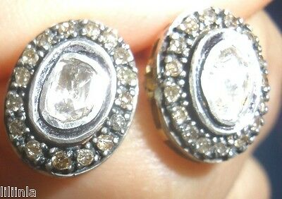 Gorgeous Antique 2 Ct Radiant Old Mine Rose Cut Diamond Studs 14K Gold Earrings