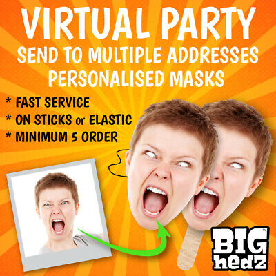 """VIRTUAL PARTY PERSONALISED FACE MASKS /""""FULLY CUT-OUT/"""" STAG DO HEN NIGHT PARTY"""