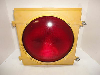 Heavy Duty Yellow Metal Traffic Light Stop Sign - Red Cover - Eagle Signal