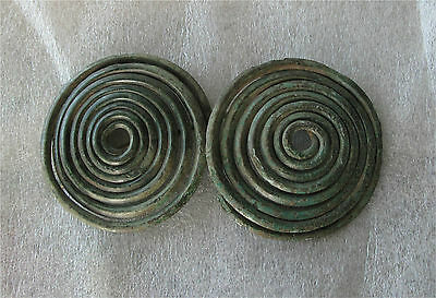900-700 Bc Greek / Central Europe Bronze Spectacale Spiral Brooch