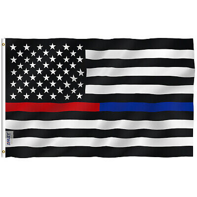 ANLEY Thin Blue / Red Line Police Flag Respect and Honor Banner 3x5 Foot Flags
