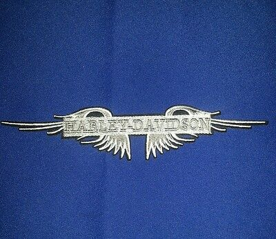 Harley Davidson 8'' by 1'' Silver Wings Patch, FREE SHIPPING