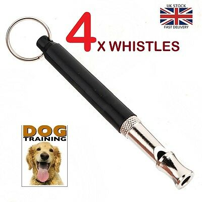 4 X Dog Pet Training Whistle Silent Ultrasonic Adjustable Sound Key Chain 90mm