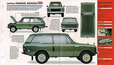 1970 LAND ROVER RANGE ROVER SPEC SHEET/Brochure/Catalog