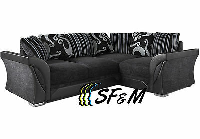 NEW SHANNON / FELINA CORNER SOFA RIGHT or LEFT SIDE GREY / BLACK FABRIC SWIVEL