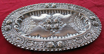 1870'S Austrian, Hungarian Solid 800 Silver Tray Hand Chased Superb Detail