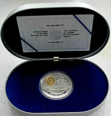 1993 Canada Silver & Gold $20 Dollars  Aviation  The Fairchild 71 C  Proof