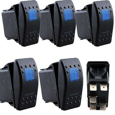 4Pcs 5Pin Waterproof 12V 20A Bar Rocker Toggle Switch Blue LED Light Car Boat