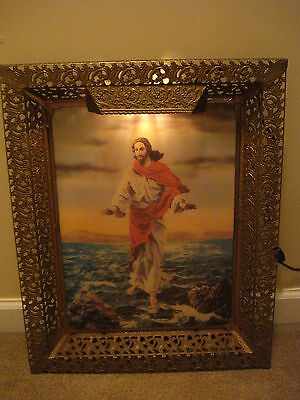 Mid Century Religous Holograph Ornate Wall Shelf Picture Jesus Walking on Water