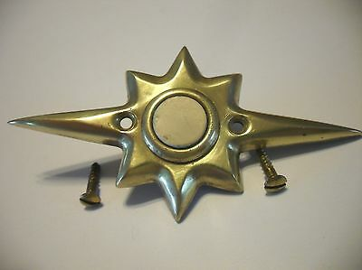 VTG Mid Century BRASS STARBURST DOOR BELL White Push Button Electric Art Deco