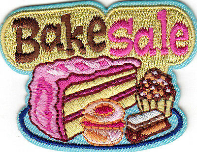 """BAKE SALE"" - IRON ON EMBROIDERED PATCH - Cooking - Food -  Cake -  Cookies"